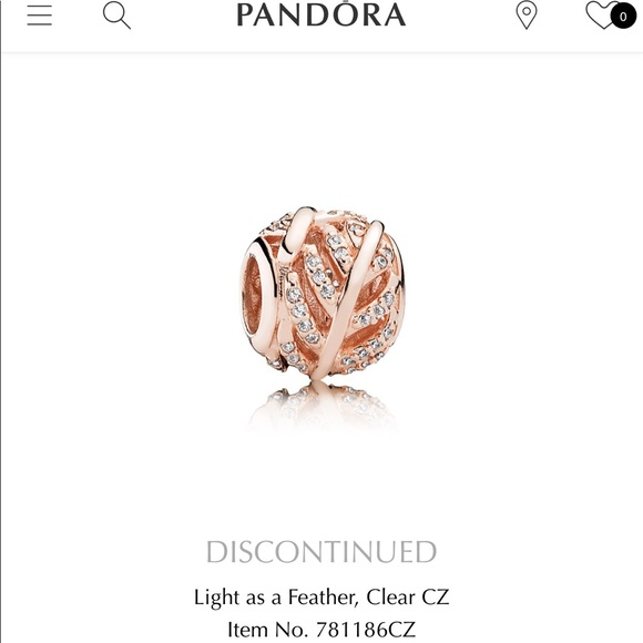 """815546834 Pandora """"Light as a feather"""" rose gold charm. M_5a4466effcdc312f560b9bc3"""